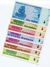 Zimbabwe 2009 Complete 7 Piece Uncirculated Banknote Full Set $1 - $500