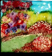 """""""Garden Path"""" Abstract Ink Painting on 4.25""""X4.25"""" Ceramic Tile on 10""""X10"""" Frame"""