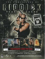 2004 The Chronicles Of Riddick Trading Cards Dealer Sell Sheet 2-Sided