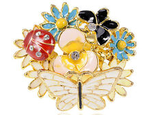 GB Adorable Big Face Colorful Butterfly Ladybug Clustered Flower Custom Ring