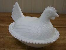 Chicken Hen Nesting Dish Milk Glass HON Vintage