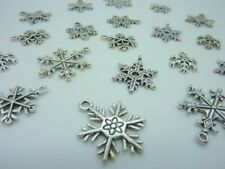 16 pce Silver Tone Metal Snowflake Charms Christmas Jewellery Making Craft