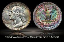 1964 Washington Quarter PCGS MS66 Spectacular Rainbow Toning w/ TrueView Photo
