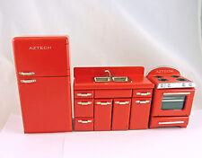 Dollhouse Miniature RED Retro 1950's Style Kitchen Set, T5955