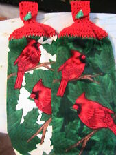 CARDINALS XMAS TREE Lot of 2 CROCHET TOP KITCHEN, BATH, SHOP HAND COTTAGE TOWELS