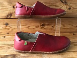 El Naturalista Red Leather Slip-on Shoes Size UK 7 EU 40