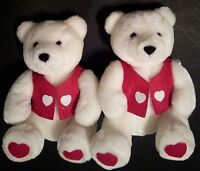 "2 HALLMARK I LOVE YOU TEDDY BEAR HEART White Red 10"" Sitting Plush Felt Vest NEW"