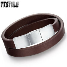 TTstyle Brown Leather 316L Stainless Steel Buckle Wristband ajustable link NEW