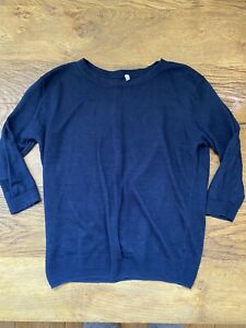 navy blue pure 100% linen flax 3/4 sleeves top jumper  S  8/10 Muji rrp £39
