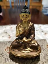 Antique Solid Copper and Bronze Buddha Seated Figure Statue