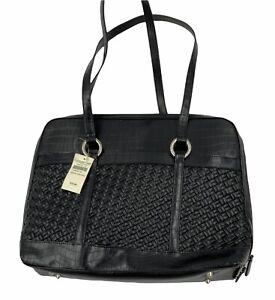 "Coldwater Creek faux leather brief laptop folder case tote bag large 16"" X 13"""