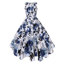 Women 50s Retro Floral Rockabilly Sleeveness Swing Cocktail Evening Party Dress