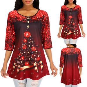 Womens Christmas Tree T-shirt Xmas Party Tee Tops Half Sleeve Casual Blouse