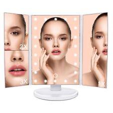 Specchio illuminato per trucco, Ingrandimento 3x 2x 1x, 22 LED + Touch Screen