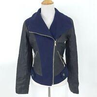 Guess Wool Blend Faux Leather Moto Contrast Jacket Women's Size S Zip Pockets
