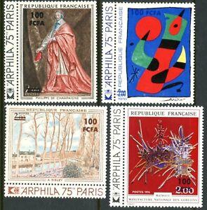 REUNION Sc#391-394 1974 Paintings Complete Set OG Mint Hinged