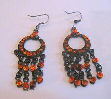 orange stone dangles approx 3 cm Lovely dark tone metal dangle style earrings