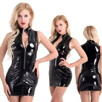 Women Bodycon Dress PVC Leather Wetlook Sleeveless Stand Collar Zipper Party