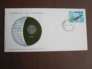 Rwanda 1978 COINS OF ALL NATIONS cover with 1f coin + stamp
