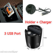 3.1A 3-Port USB Car Cup Charger With Holder+ 2 Cigarette Lighter Fasting Charger