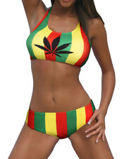 HOT,  Jamaican Rasta Colour Stripe 2 piece Swimwear  ..XL-12-14