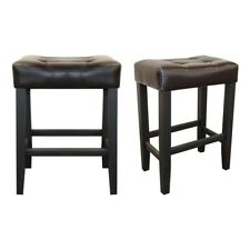 Kent Counter Stool Deep Brown Faux Leather Set of 2
