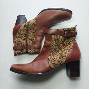 Coldwater Creek Tapestry Boots Womens 8 Leather Ankle Heel Square Floral Cognac