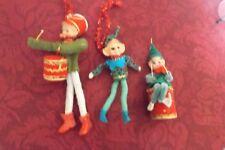 Rare Antique German lot of 3 Christmas Ornaments felt & plastic heads