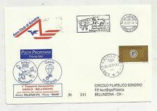 RARA BUSTA AERO CLUB SONDRIO  TRASPORTO AEROPOSTALE CAIOLO BELLINZONA 2001 241