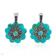 simulated Turquoises in Sterling .925 Silver Brand New Earrings w/ Marcasites &