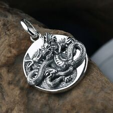 Retro Men Women 925 Sterling Silver Chinese Dragon Tai Chi gossip Pendant YT48