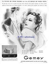 PUBLICITE GEMEY POUDRE BEAUTE CREATION RICHARD HUDNUT ART DECO DE 1935 FRENCH AD