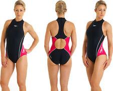 """Nouveau Speedo Frame hydrasuit swimsuit UK/US 34"""" Col Haut Fermeture Éclair Arrière Badeanzug D38"""
