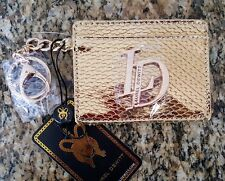 LAUREL DEWITT Rajah Gold Patterned Card Case Wallet with Keychain Clip NWT