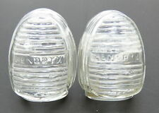 Vintage 2pc early Hendryx Usa Clear Glass Ribbed Water Food Bird Feeders
