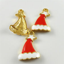 15pcs/pack Colorful Xmas Hats Shaped Alloy Pendants Charms Crafts Findings 52424