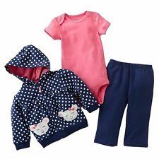 💜Carter's 💜Girl's 3-Piece Navy & White Mouse Hoodie Pant Set NB