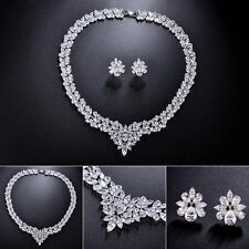 CHSOUL Wedding Party Bridal Jewelry Diamante Crystal CZ Necklace Earrings Sets