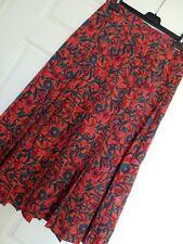 ALEXON Orange Print Fully Lined Pleated Midi Skirt Size 10