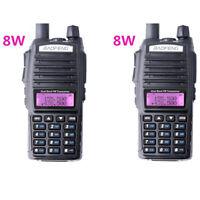 2X Baofeng UV-82 Real 8W Dual Band UHF/VHF FM Walkie Talkie Radios Transceiver