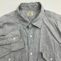 J.Crew Button Up Dress Shirt Men's 15-15.5 Long Sleeve Gray 2-Ply Cotton Casual