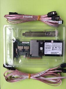 IBM M5015 RAID controller+SFF-8087 to (4) 7-Pin SATA cables+BBU Battery