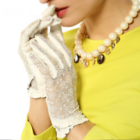 Genuine Leather Gloves Fashionable Lace Women's Driving Touch Soft Wrist Mittens