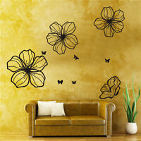 3pcs Big Pretty Flowers Vinyl Art Blossom Wall Stickers Home Decor Mural Decal