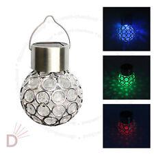 7 Color Changing LED Solar Garden Hanging Light Crackle Glass Lantern Ball UKDC