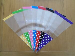 Polka Dot Cello Cone Bags - Large Party Bags - Sweets - Gifts - With Twist Ties