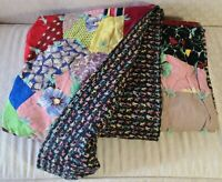 "Vintage Patchwork Hand Made Scrap Quilt Beautiful Prints 72.5"" x  78"""