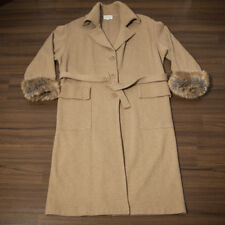 Vintage Ladies Camel Coat Griffe Tricot Lambswool - Size 46 (IT)