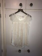 East John Lewis Size Small 10-12 Linen Top Shirt Cream Lace Detail BNWT