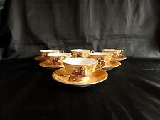 6 tasses et sous tasses en porcelaine motif marquis,marquise romantique